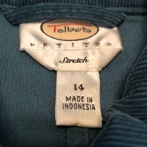 Talbots Jackets & Coats - Teal Corduroy TALBOTS Stretch Blazer Jacket Sz 14P